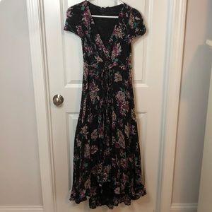 Multicolor Floral wrap dress with high slit
